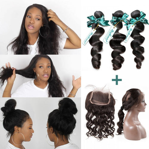 Rosabeauty 7A 3 Bundles Hair Weave Brazilian Hair With 360 lace Frontal Loose Wave