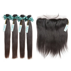 Rosabeauty 7A 4 Bundles Brazilian Hair With Frontal Straight