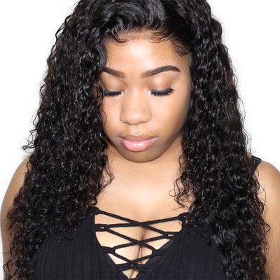 Full Lace Wigs Deep Wave Glueless Human Hair Wigs Natural Color #1B