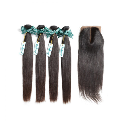 Rosabeauty 7A 4 Bundles Hair Weave Brazilian Hair With Silk Base Closure Straight