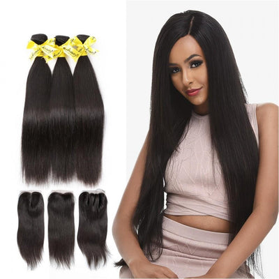 Rosabeauty 7A 3 Bundles Hair Weave Brazilian Hair With Lace Closure Straight
