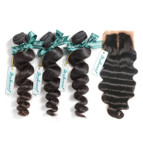 Rosabeauty 7A 3 Bundles Hair Weave Brazilian Hair With Silk Base Closure Loose Wave