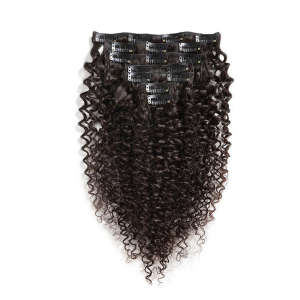 100G Brazilian Hair Kinky Curly Clip in Hair Extension #1B 7PSet