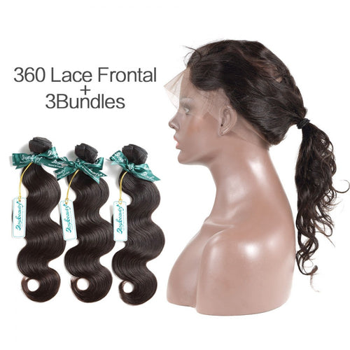 Rosabeauty 7A 3 Bundles Brazilian Hair With 360 Frontal Body Wave