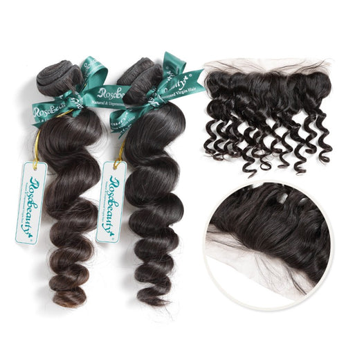 Rosabeauty 7A 2 BundlesHair Weave Brazilian Hair Loose Wave With Frontal