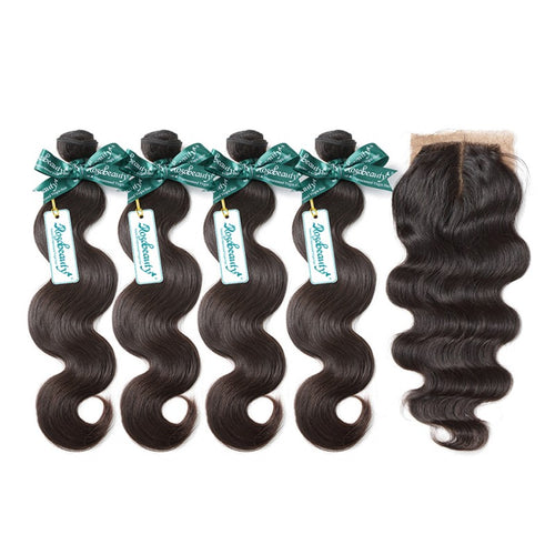 Rosabeauty 7A 4 Bundles Hair Weave Brazilian Hair With Silk Base Closure Body Wave