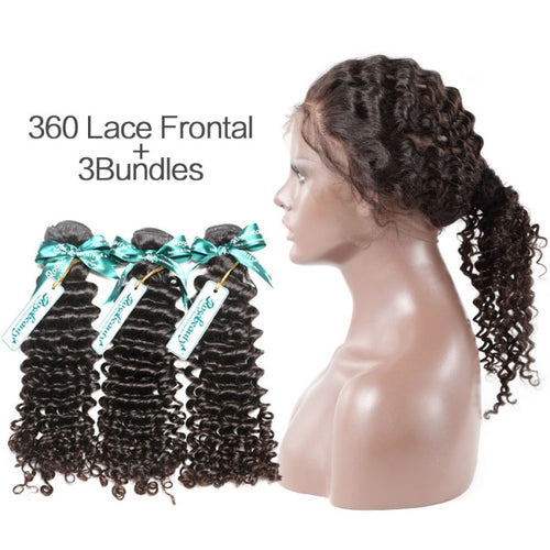 Rosabeauty 7A 3 Bundles Brazilian Hair With 360 Frontal Deep Wave