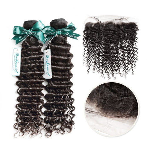 Rosabeauty 7A 2 Bundles Brazilian Hair with Frontal Deep Wave