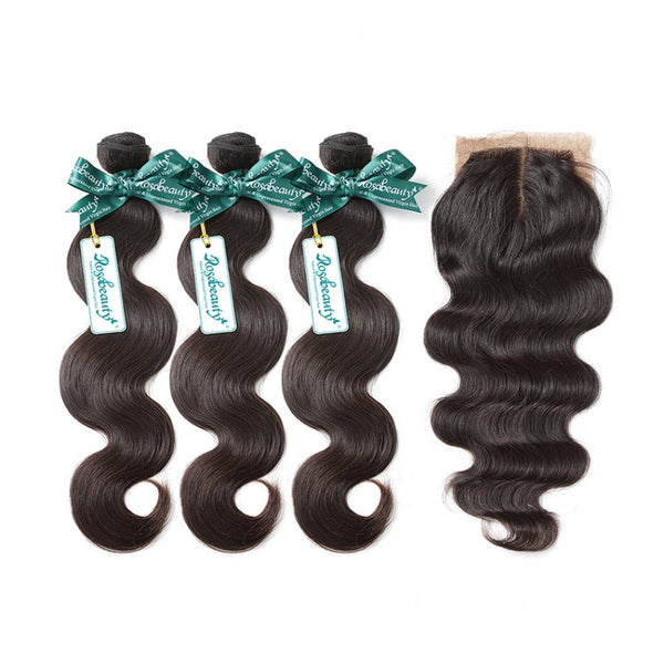 7A 3 Bundles Hair Weave Brazilian Hair With Silk Base Closure Body Wave