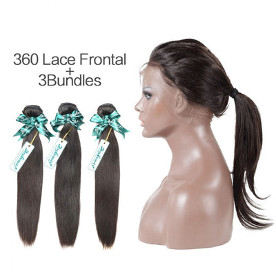 Rosabeauty 7A 3 Bundles Brazilian Hair With 360 Frontal Straight
