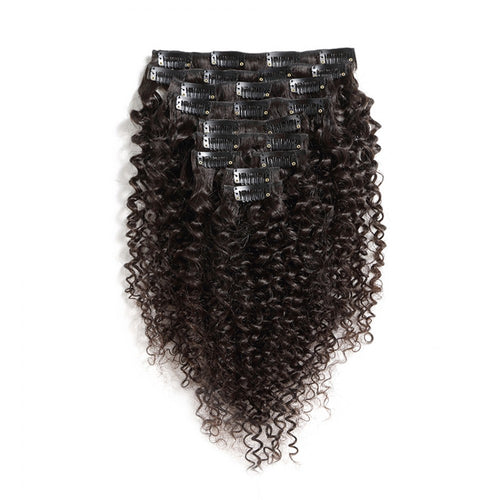 140G Brazilian Hair Kinky Curly Clip in Hair Extension #1B 10PSet
