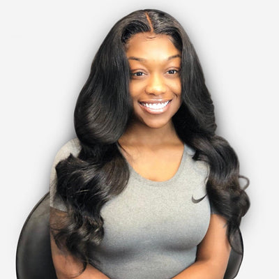 Full Lace Wigs Body Wave Glueless Human Hair Wigs Natural Color #1B