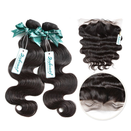 Rosabeauty 7A 2Bundles Brazilian Hair with Frontal Body Wave