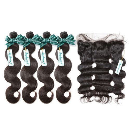 Rosabeauty 7A 4 Bundles Hair Weave Brazilian Hair With Frontal Body Wave