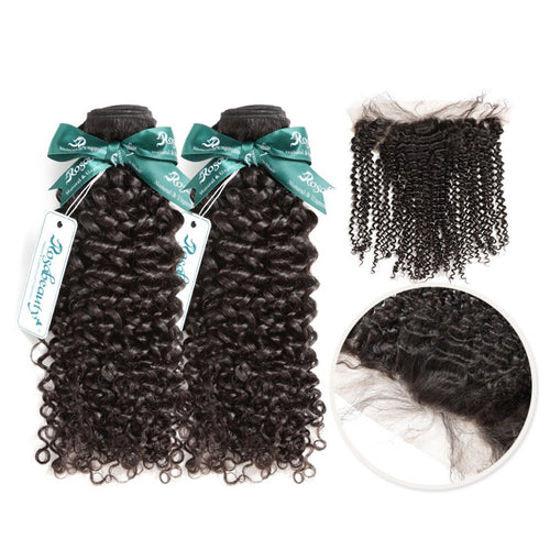Rosabeauty 7A 2 Bundles Brazilian Hair With Frontal Kinky Curly