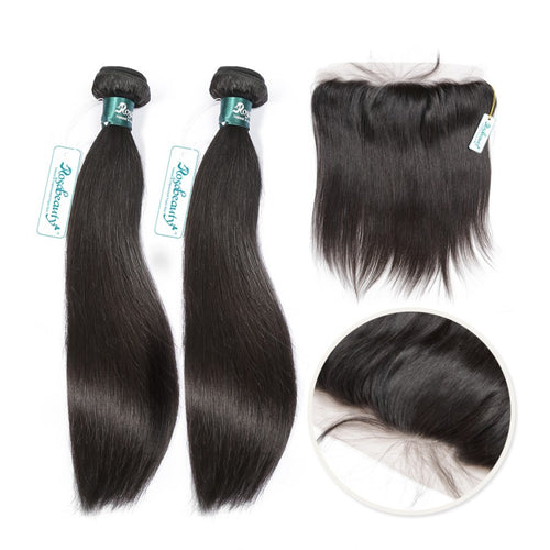 Rosabeauty 7A 2 Bundles Brazilian Hair with Frontal Straight