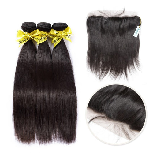 Rosabeauty 7A 3 Bundles Brazilian Hair with Frontal Straight