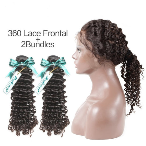 Rosabeauty 7A 2 Bundles Brazilian Hair with 360 Frontal Deep Wave
