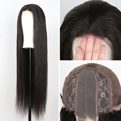 2x6 Lace Front Human Hair Wigs Pre Plucked Brazilian Straight Frontal Wig