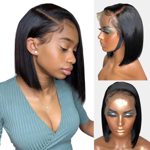 Straight Short Bob Wigs For Black Women Human Hair Lace Frontal Wig