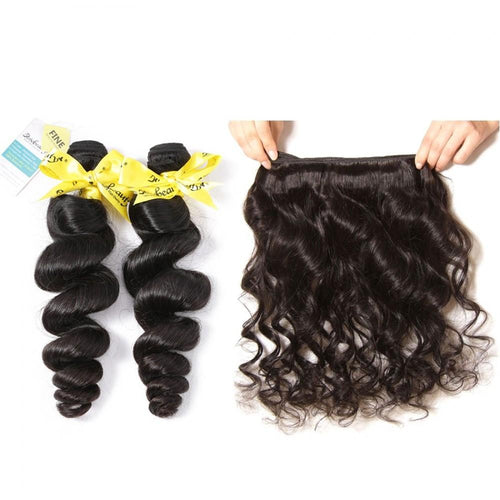 Rosabeauty 7A 3 Bundles Hair Weave Brazilian Hair With Lace Closure Loose Wave