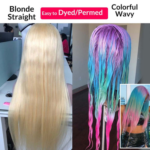 613 Human Hair Lace Front Wig Straight Blonde Wigs Brazilian Hair Transparent Lace Wigs