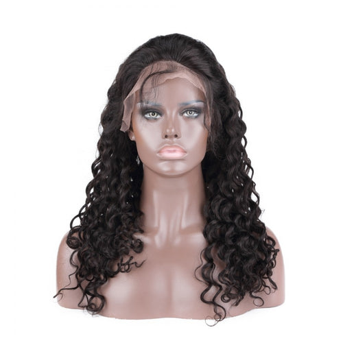 Full Lace Wigs Loose Wave Glueless Human Hair Wigs Natural Color #1B