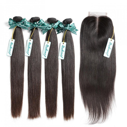 Rosabeauty 7A 4 Bundles Hair Weave Brazilian Hair With Lace Closure Straight