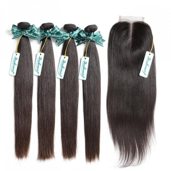 7A 4 Bundles Hair Weave Brazilian Hair With Lace Closure Straight