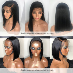 Straight Short Bob Wigs Human Hair Lace Frontal Wig Silky Blunt Cut