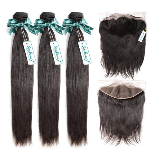 Rosabeauty 7A 3 Bundles Brazilian Hair with 13x6 Frontal Straight