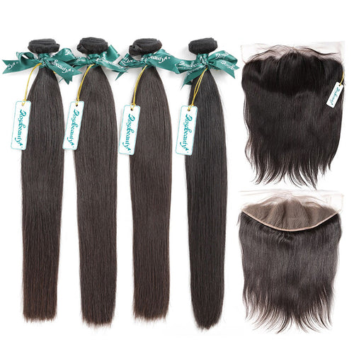 Rosabeauty 7A 4 Bundles Brazilian Hair With 13×6 Frontal Straight