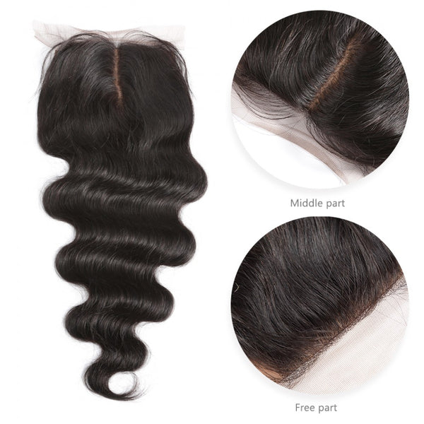 7A 4 Bundles Hair Weave Brazilian Hair With Silk Base Closure Body Wave