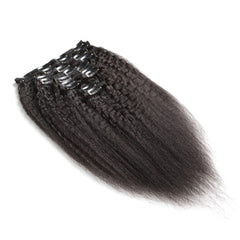 100G Brazilian Hair Kinky Straight Clip in Hair Extension #1B 7PSet