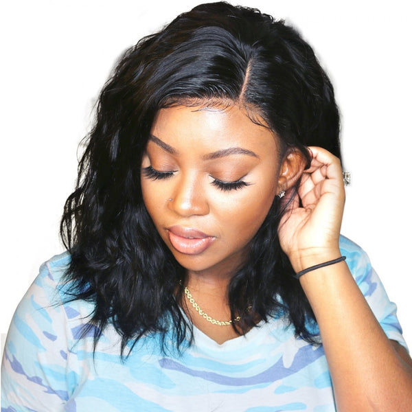 Brazilian Natural Wave Short Bob Wigs For Black Women Human Hair Lace Front Wig