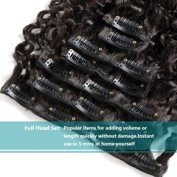 70G Brazilian Hair Kinky Curly Clip in Hair Extension #1B 7PSet