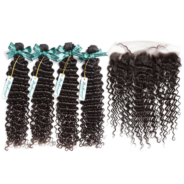 7A 4 Bundles Brazilian Hair With Frontal Deep Wave