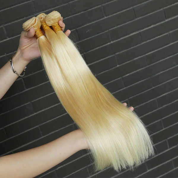 8A #613 Blonde Straight Hair Bundles  1-3 Bundles