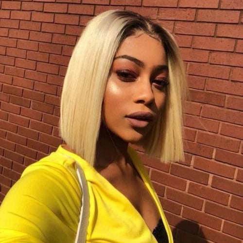 #T1B/613 Straight Blonde Bob Wig Ombre Human Hair Silky Blunt Cut