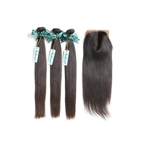 Rosabeauty 7A 3 Bundles Hair Weave Brazilian Hair With Silk Base Closure Straight