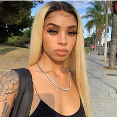 1B/613 Blonde Straight Front Lace Wig Human Hair Transparent Lace Wigs