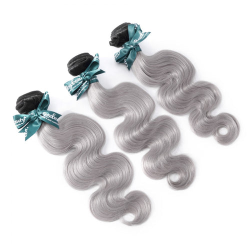 Rosabeauty 8A Dark Roots T1B/Grey Ombre Grey Straight Hair Bundles 1:9