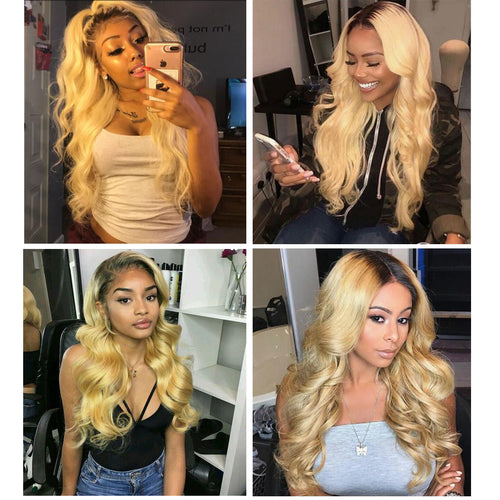 1B/613 Blonde Body Wave Front Lace Wig Human Hair Transparent Lace Wigs
