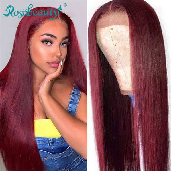 99J Burgundy Straight T-Part Lace Frontal Wig Human Hair Wigs