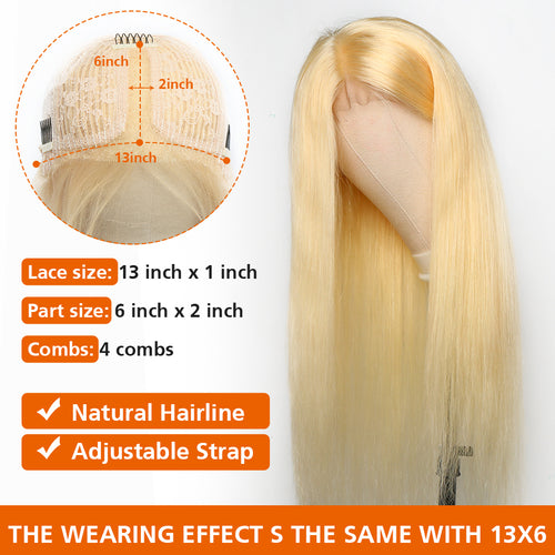 T Part Blonde Hair Lace Front Wig Virgin Human Hair #613 Lace Wig