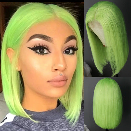 Rosabeauty Straight Green Bob Wig Brazilian Humen Hair Short Lace Front Wig