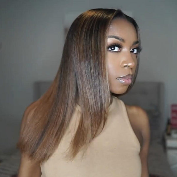 4x4 #1B/412 Highlight Straight Human Hair Lace Front Wig