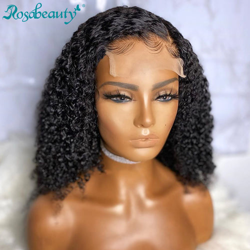 Rosabeauty 4x4 Curly Bob Wig Human Hair Wigs Deep Wave