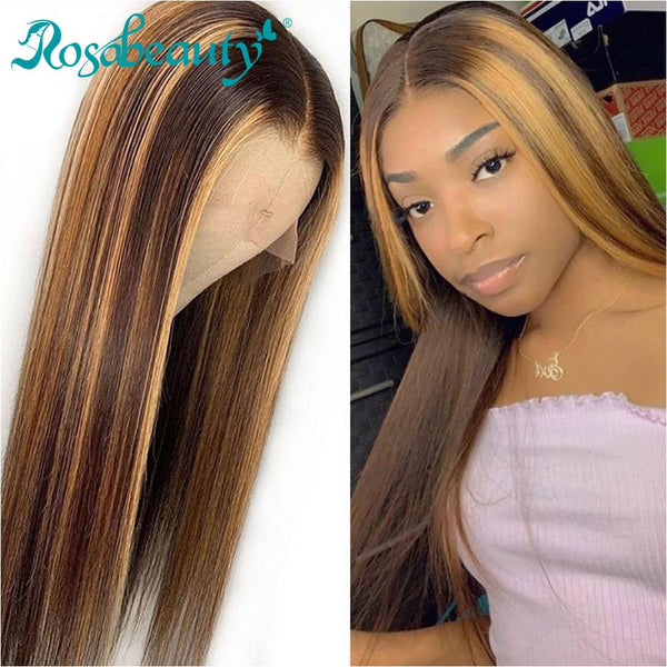 #4/27 13x4  Straight Ombre Lace Front Wig Highlight Virgin Human Hair