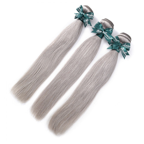 Rosabeauty 8A Sliver Grey Straight Hair Bundles